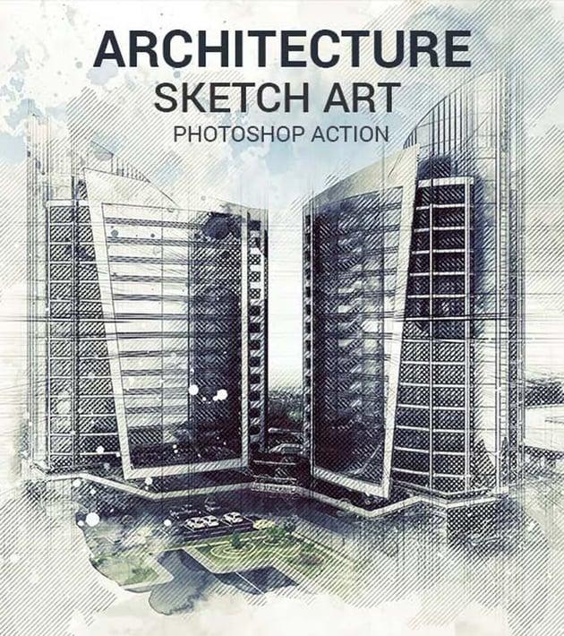 Architecture Sketch Art Photoshop Action
