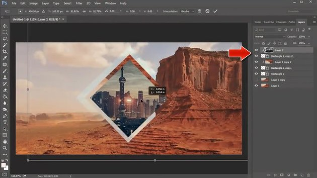 Copy and Paste a Cityscape into the Clipped Mask