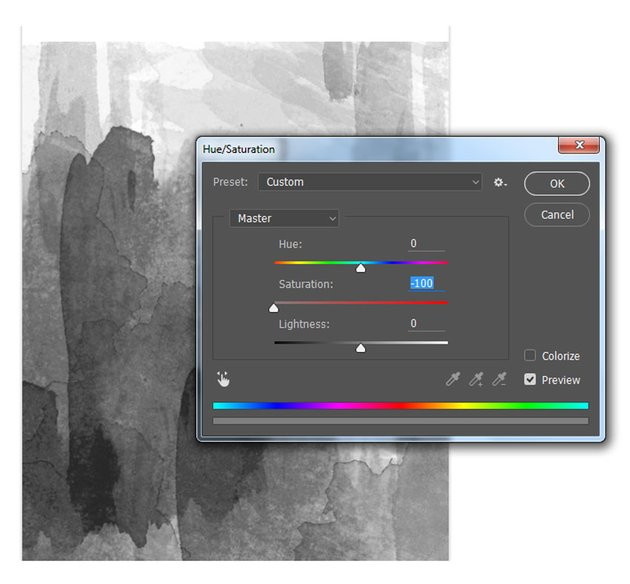 Turn a photo to black and white with hue and saturation