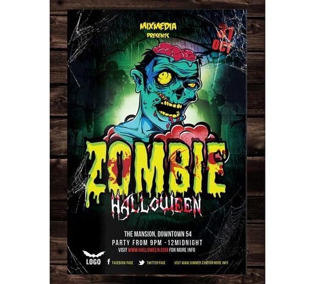 Zombie Brain Halloween Flyer