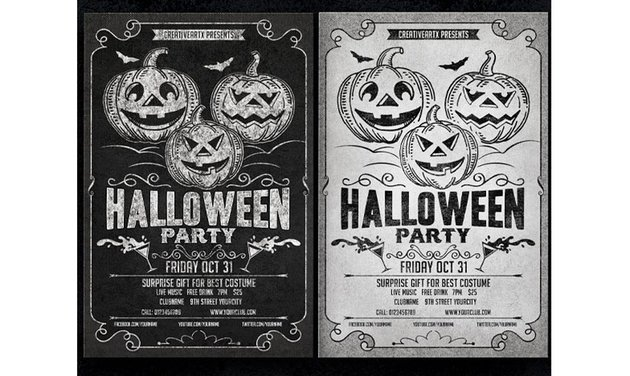 Black and White Halloween Party Flyer