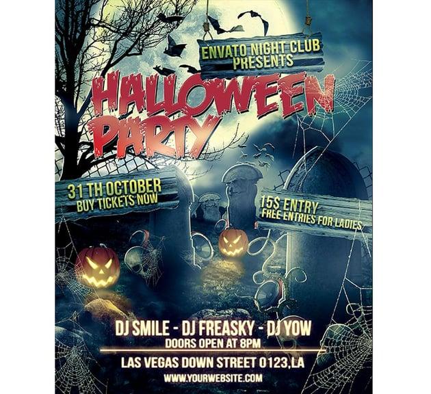 Graveyard Halloween Party Flyer