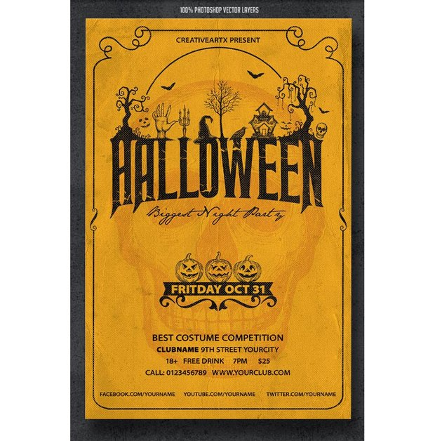 Simple Halloween Party Flyer