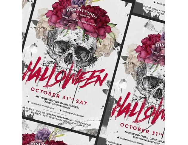 Skull and Flower Halloween Flyer