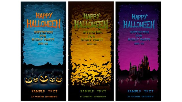 Halloween Party Invitations - Set of 3
