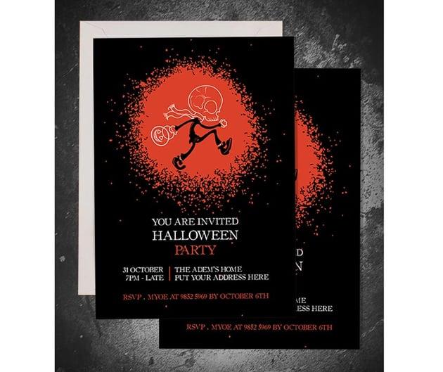 Skull Head Trick or Treat Halloween Invitation