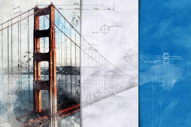 Blueprint Photoshop Effect Action