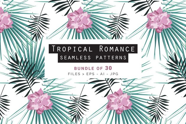 Tropical Romance Patterns Bundle