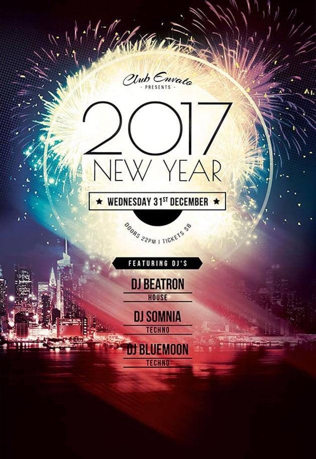 2017 Fireworks New Year Flyer