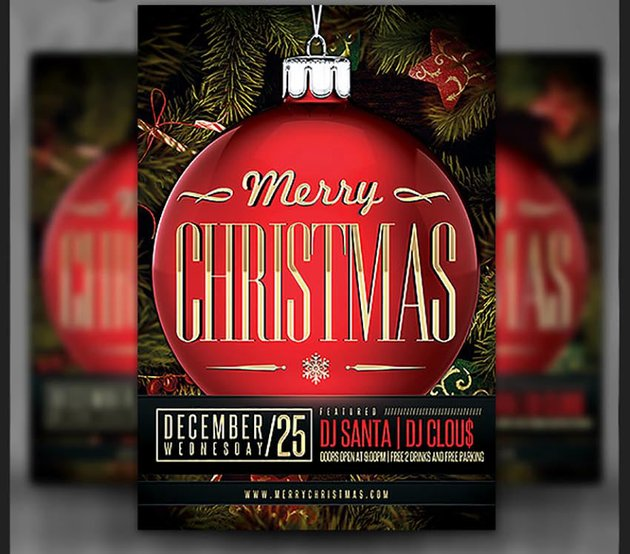 Merry Christmas Ornament Party Flyer