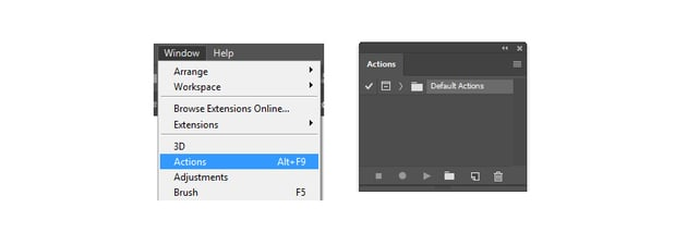 How to Access the Actions panel in Photoshop