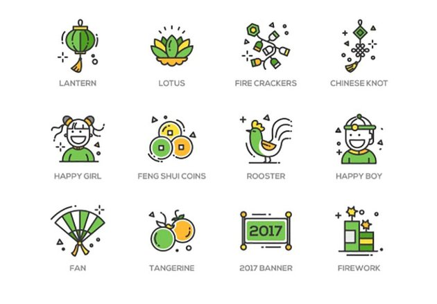 Chinese New Year Line Design Icons
