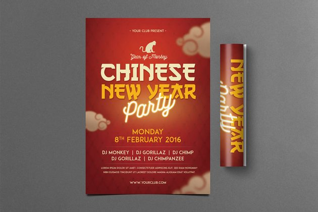 Simplistic Chinese New Year Flyer