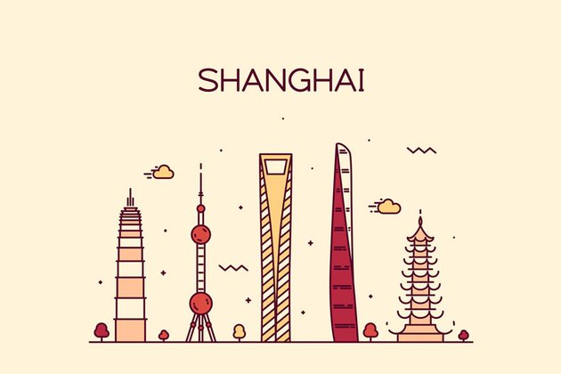 Shanghai Chinese New Year Skyline