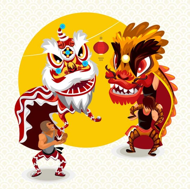 Chinese Lunar New Year Lion Dance Fight