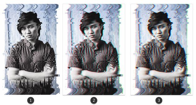 Creating the 3D effect on a glitched photo