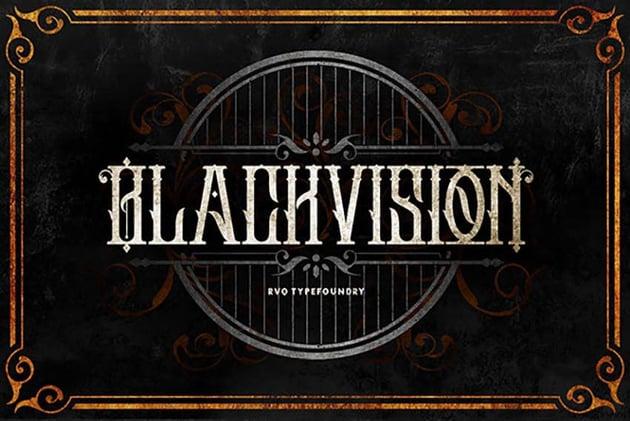 Black Vision Tattoo Ink Font