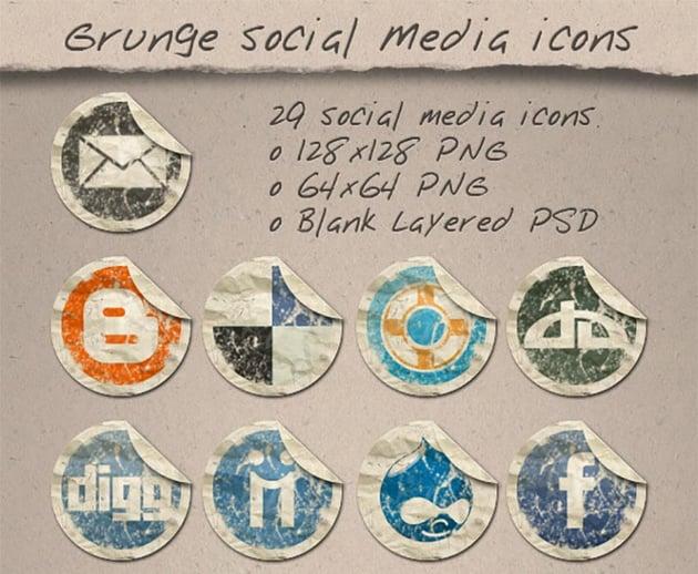 29 Grunge Paper Social Media Icons