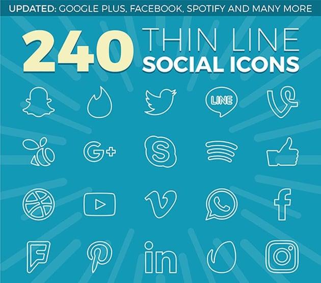 240 Thin Line Social Media Icons
