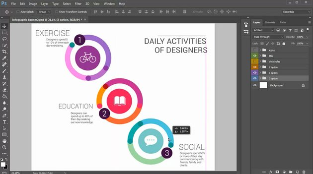 Adjust An Infographic Composition with the Move Tool