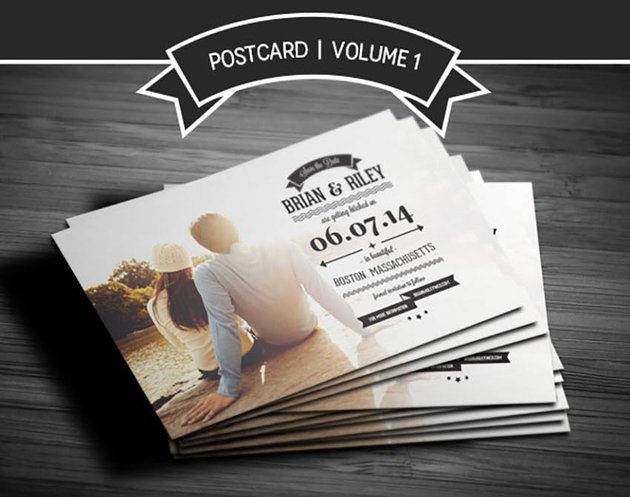 Save The Date Postcard - Volume 1 wedding invitation with photo templates