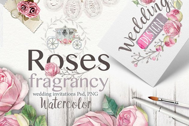 Wedding invitation Fragrant roses