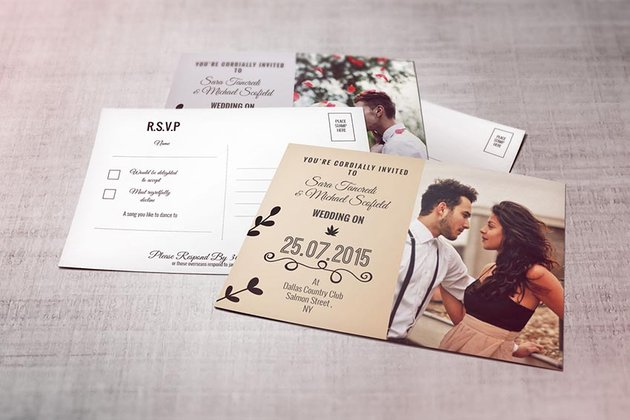 Wedding Invitation Postcard and RSVP Card