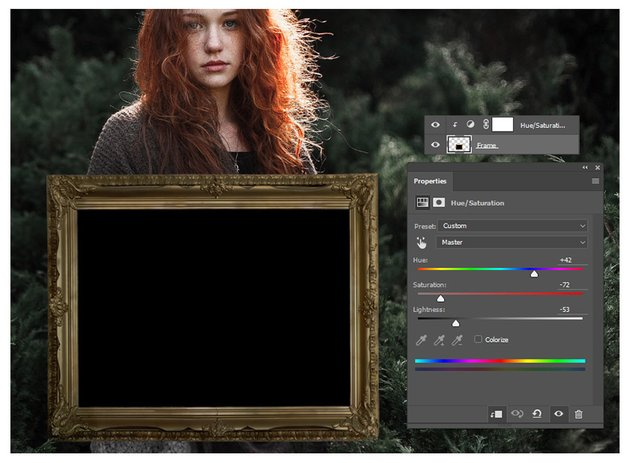 Adjust the Color of the Frame with Hue and Saturation