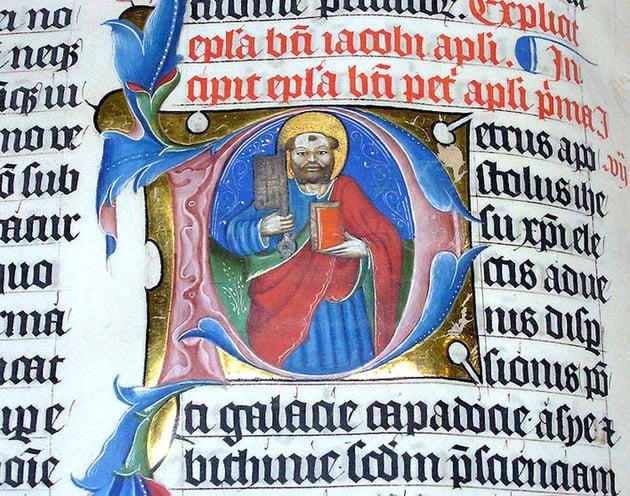A Historiated Letter on an Illuminated Manuscript