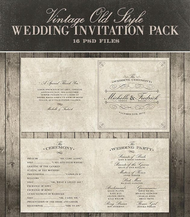 Wedding Invitation Package - Vintage Old Style