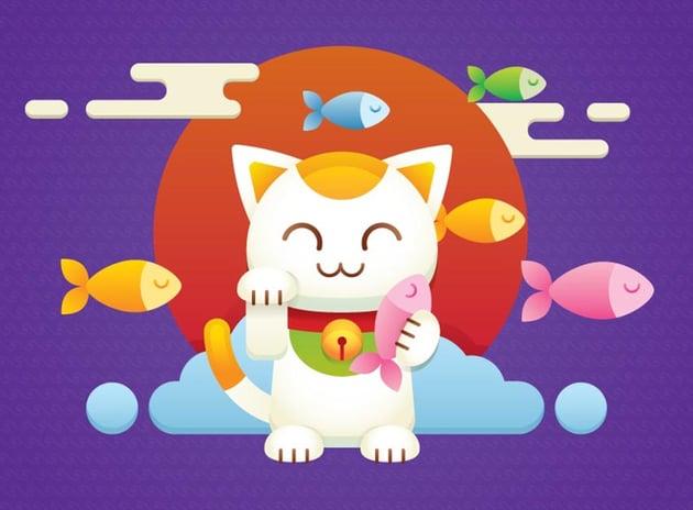 Maneki Neko Lucky Charm Vector Illustrator Tutorial