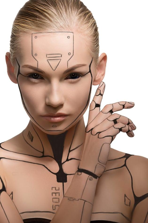 Cyborg progress with crisp black lines