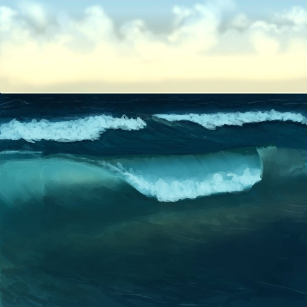 Carve out the main wave with the brush tool