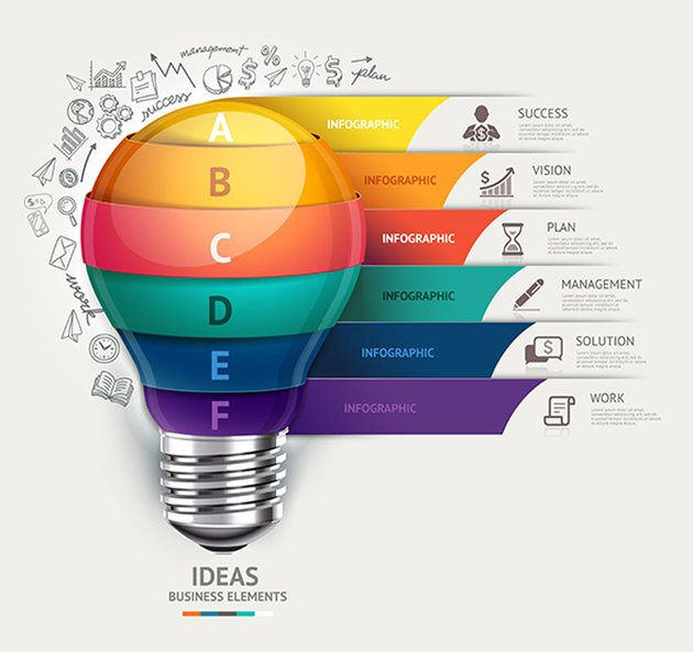 Business Lightbulb Infographics Template