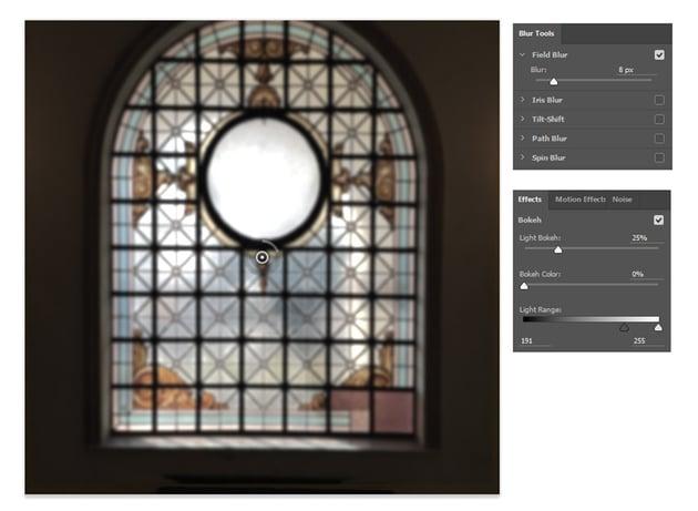 Blur the window and add light bokeh