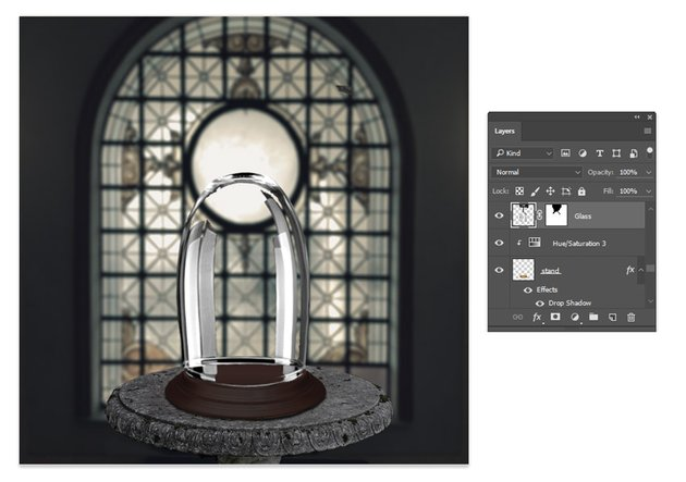 Add a layer mask to the glass case