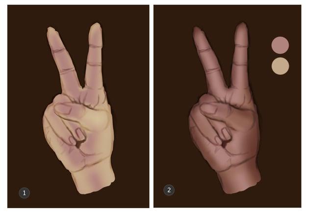 Shade the V hand
