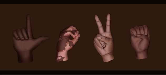 Paint more shadow on each hand