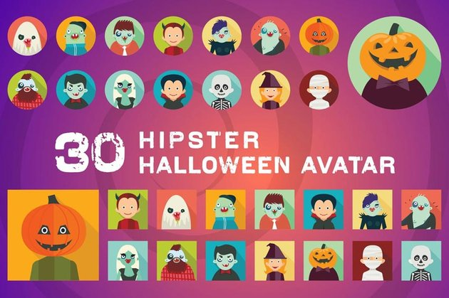 Hipster Halloween Avatar Icons