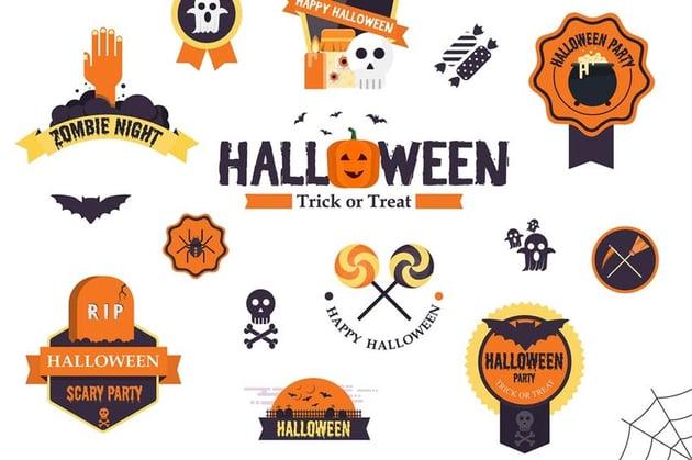 Halloween Flat Designed Badges