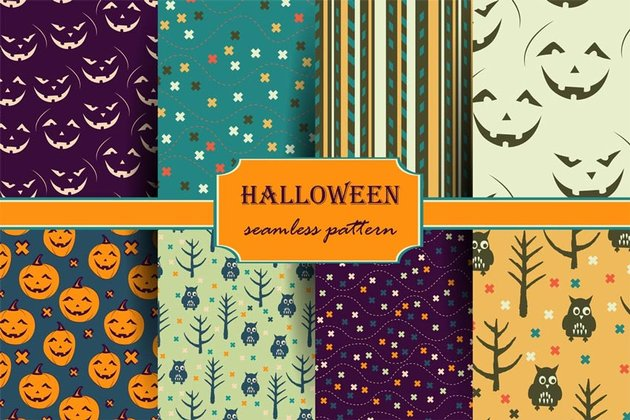 Halloween Backgrounds and Elements Pack
