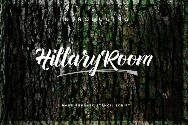 Hillary Room Cursive Stencil Font