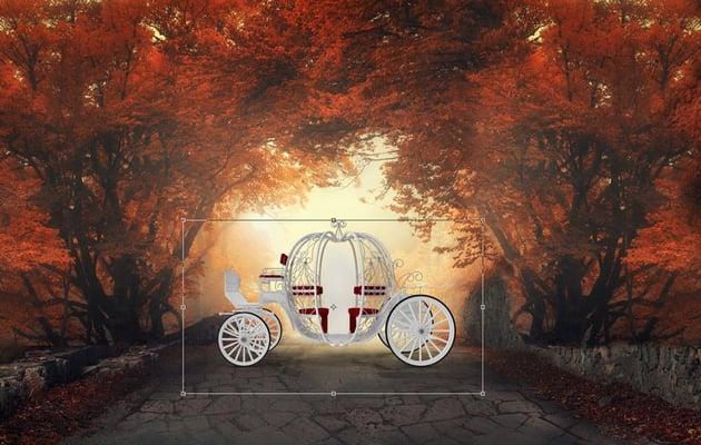 Add the pumpkin coach