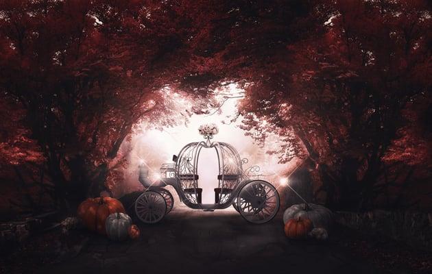 Paint twinkles on the pumpkin coach