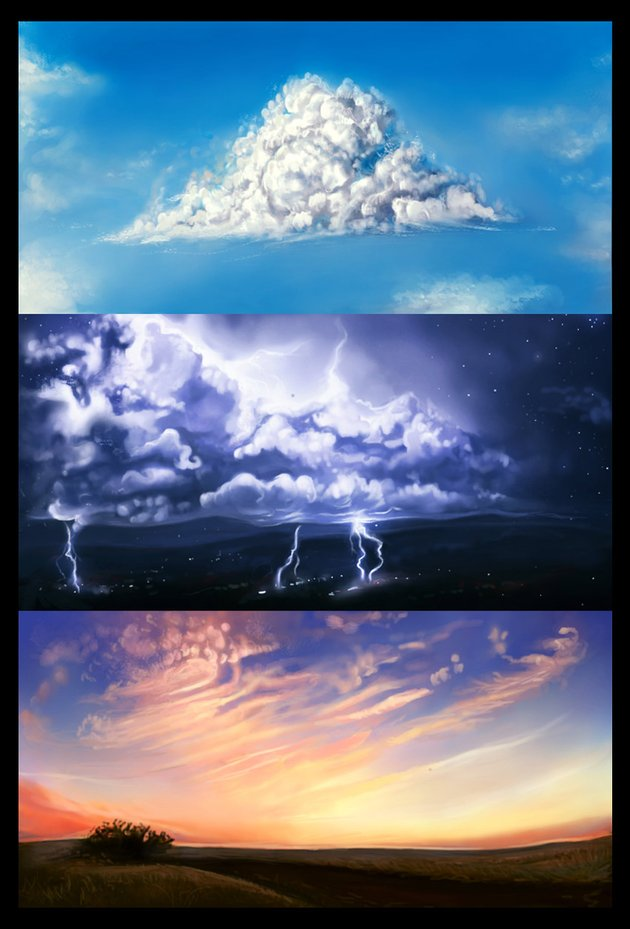 How to Paint Fluffy Stormy and Wispy Clouds by Melody Nieves