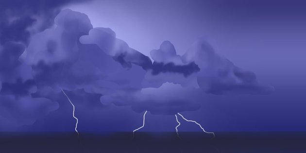 Paint the lightning bolts and clouds