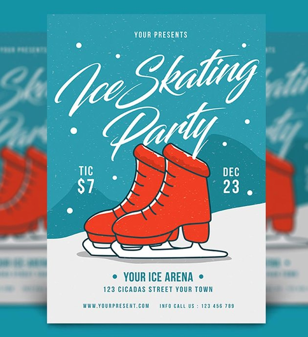 Ice Skating Party Flyer