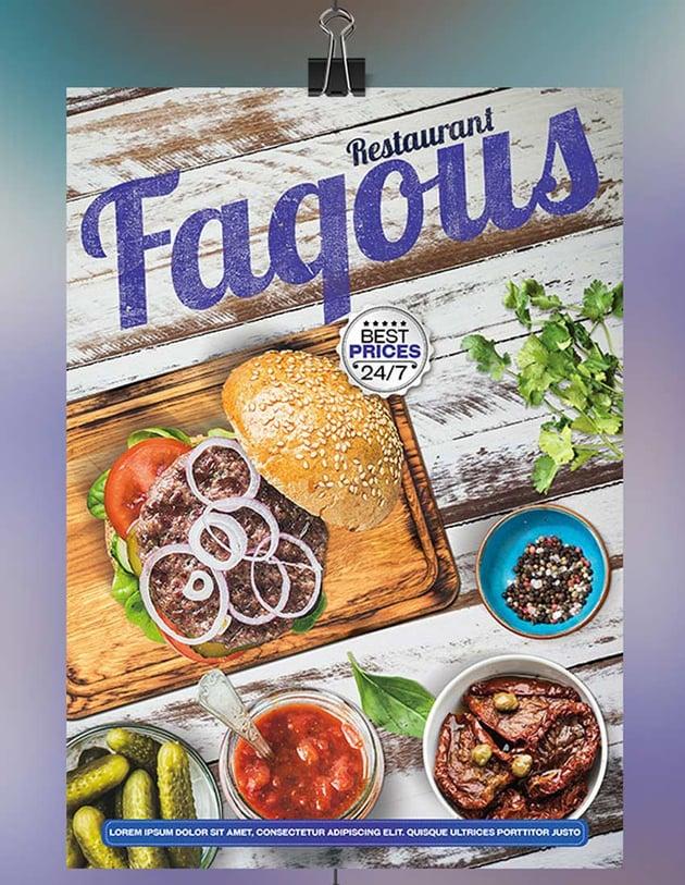 Fakous Restaurant Menu Flyer