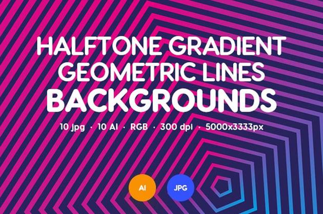 Halftone Gradient Geometric Lines Backgrounds