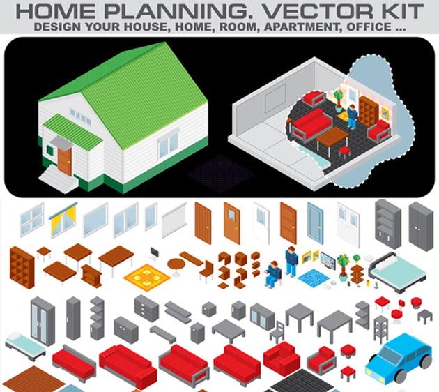 Home Planning Isometric Vector Ki